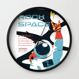 Space Rock Music Festival Wall Clock