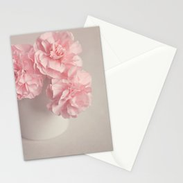 Frilly pink Carnations flowers. Stationery Cards