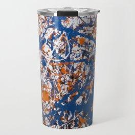 Orange,Blue, Flat black Action painting Travel Mug