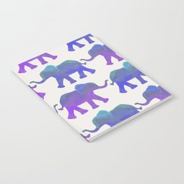 Follow The Leader - Painted Elephants in Royal Blue, Purple, & Mint Notebook