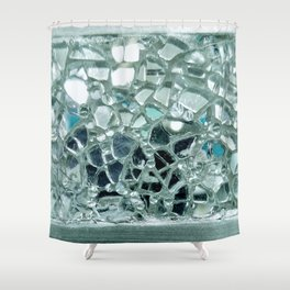 Icy Blue Mirror and Glass Mosaic Shower Curtain