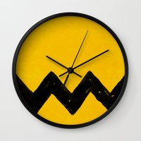 charlie brown Wall Clocks featuring Charlie Brown by Aaron Lockwood