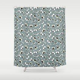 Crisscross Butterflies V.03 - Stone Gray Color Shower Curtain