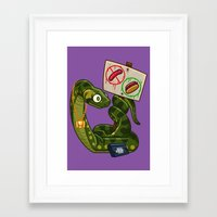 anaconda Framed Art Prints featuring Anaconda Buns by Artistic Dyslexia