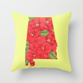 Alabama in Flowers Throw Pillow