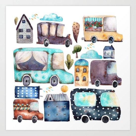 Watercolor town Art Print