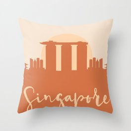 SINGAPORE CITY SUN SKYLINE EARTH TONES Throw Pillow