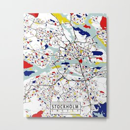Stockholm City Map of Sweden - Mondrian Metal Print