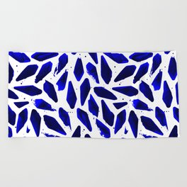 Cobalt Blue Ink Blots Beach Towel
