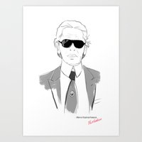 karl lagerfeld Art Prints featuring portret Karl Lagerfeld by Alyona Kaznacheeva