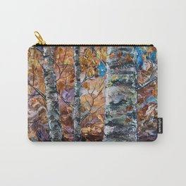 Birch Trees with Palette Knife by OLena Art for @society6 Carry-All Pouch