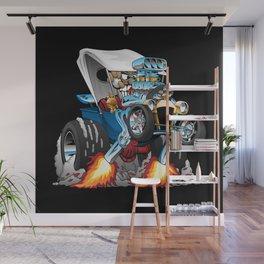 Custom T-bucket Roadster Hotrod Cartoon Illustration Wall Mural