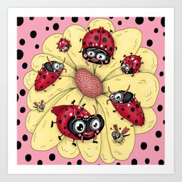 some quirky ladybugs and a couple of cute bees, pink coral yellow red black white Art Print