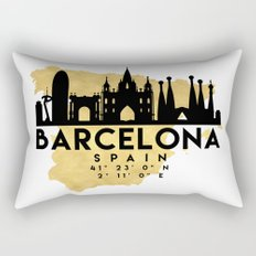BARCELONA SPAIN SILHOUETTE SKYLINE MAP ART Rectangular Pillow