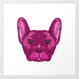 Pink Frenchie Top. Art Print