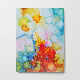 Abstract Alcohol Ink Art Emergence by Molly Harrison Metal Print