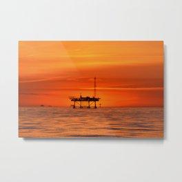 oilfield sunset Metal Print