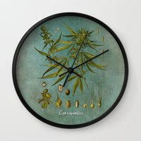 cannabis Wall Clocks featuring Cannabis by jbjart