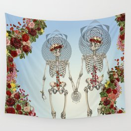 The Summer of Love anatomical skeleton collage art by bedelgeuse Wall Tapestry
