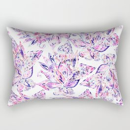 Purple pink watercolor gold chic floral paisley Rectangular Pillow