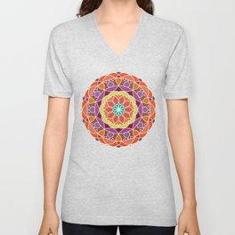 Flame mandala fractal design Unisex V-Neck