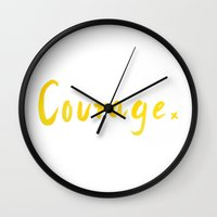 courage Wall Clocks featuring Courage by -XXX-