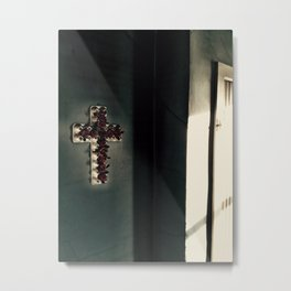 Egg Carton Cross Metal Print