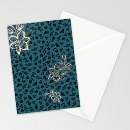 FLOWERS ON TOP OF FLOWERS (teal) Stationery Cards