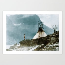 Echoes Call - American Indian Camp Art Print