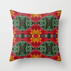 Red Lily Flower Abstract Pattern Throw Pillow