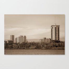 University Tower and Downtown Tulsa Skyline Sepia Canvas Print