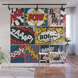 Modern Comic Book Superhero Pattern Color Colour Cartoon Lichtenstein Pop Art Wall Mural