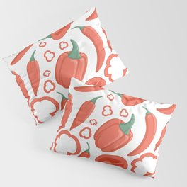 Bell peppers and chili peppers seamless pattern in cartoon style. Healthy organic pepper slices. Pillow Sham