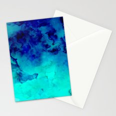 Mermaid paradise | blue ombre turquoise watercolor Stationery Cards