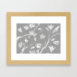 Magnolia flower and birds ink-pen drawing Framed Art Print