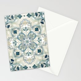 Forest Green & Neutral Taupe Detailed Lace Doodle Pattern Stationery Cards