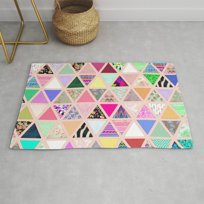 Vintage Abstract Fl Triangle Pastel Patchwork Rug By Ytrend