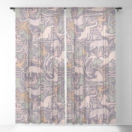 Big Cats and Fishes Sheer Curtain