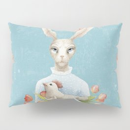 Beautiful Floral Flowers Female Animal Easter Bunny Pillow Sham