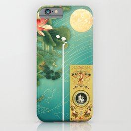Chinese Lotus Full Moon Garden :: Fine Art Collage iPhone Case