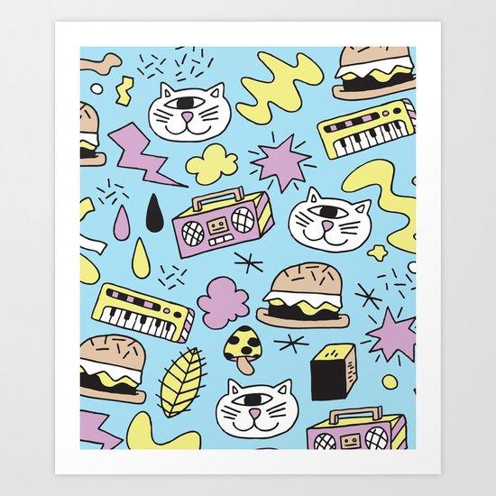 Cat Jams Art Print