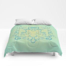 Mint tendrils emblem Comforters