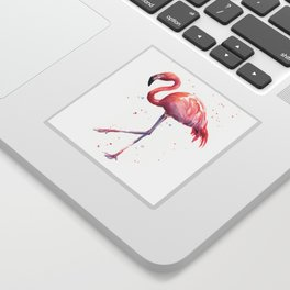 Flamingo Watercolor Pink Bird Sticker