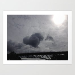 Cloud heart over bridge Art Print