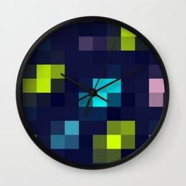 digital square / neon pixels Wall Clock