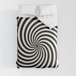 Black And White Op Art Spiral Comforters