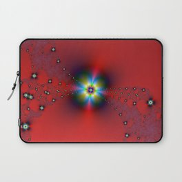 Floral Spray on Red Laptop Sleeve