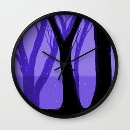 Magical Forest in Purple Wall Clock