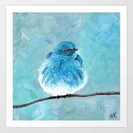 Mountain Bluebird Acrylic Art, Blue Bird Painting, Bird on a Branch, Wall Art, Fluffy Bird Art Print