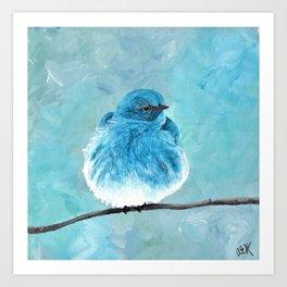 Mountain Bluebird Acrylic Art, Blue Bird Painting, Bird on a Branch, Wall Art, Fluffy Bird Art Print